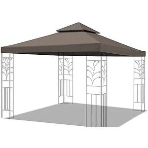 Toit De Rechange pour Pavillon De Jardin 3 X 3 M Étanche, 200 G/M², Ultra Résistant, Imperméable Grâce À Un Revêtement PVC 3 X 3 M,Marron