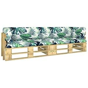 vidaXL Pin Imprégné de Vert Canapé Palette 2 Places avec Coussins Meuble de Terrasse Meuble de Jardin Canapé de Patio Canapé d'Extérieur Salon