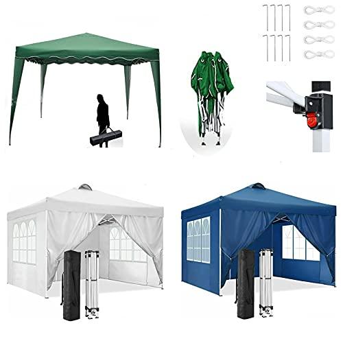 Gazebo 3 x 3M avec 4 côtés, Tente de chapiteau de fête de Jardin entièrement étanche en Plein air, idéal pour Le Jardin/Camping/Mariage/Barbecue, paroi latérale Amovible, installat