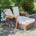 greemotion 128521Canapé Bahia Lanzarote de Jardin Canapé Lounge Outdoor cannée & terrasse 2Places de Jardin en rotin avec Tabouret & Dossier Réglable Basse, Marron, 13x 8x 6,2cm