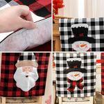 Hemoton Lot de 2 housses de chaises de Noël pour chaises de Noël à carreaux, poupée de neige avec dessins animés imprimés, housse de chaise pour décoration de table