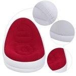 SALUTUYA Canapé Gonflable intérieur Accessoires de Photographie durables canapé Chaise extérieure Portable, pour Famille avec Repose-Pieds(Red, 116 * 98 * 83cm)
