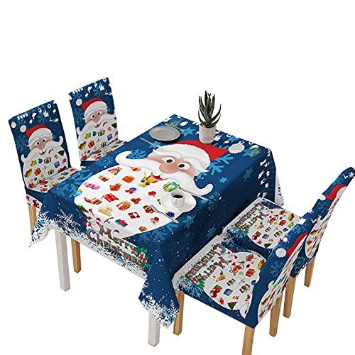 Steelwingsf Housse De Table Amovible Motif Père Noël Housse De Chaise Absorbant Doux pour La Peau Mode Léger 5 Pièces/Ensemble 140 * 140cm