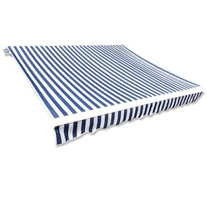 Toit d'auvent Toile Bleu et Blanc 6×3 m (Cadre Non Inclus) Maison Jardin Pelouses Jardins Vie en extérieur Stores extérieurs