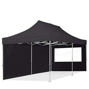 TOOLPORT Tente Pliante 3×6 m – 2 côtés Aluminium Barnum Chapiteau Pliant Tonnelle Stand Paddock Réception Abri PES300 Noir