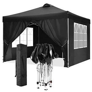 TOOLUCK Tonnelle Pliante 3x3m Tonnelle de Jardin Imperméable Tente Reception Pavillon de Jardin avec 4 Côtés, Sacs de Sable, Air Évents, 3×3 M, Noir