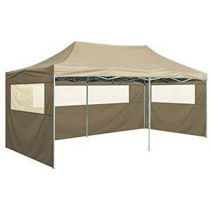 vidaXL Tente de Réception Pliable avec 4 Parois Tonnelle de Jardin Tonnelle de Patio Pavillon de Terrasse Auvent d'Extérieur 3×6 m Acier Crème