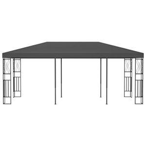Voupuoda Pavillon Multifonctionnel Moderne,Pavillon extérieur Pratique en Fibre de Polyester Anthracite 6 x 3 x 2,6 m (Longueur x Largeur x Hauteur) – avec Cadre décoratif en Forme de Croix