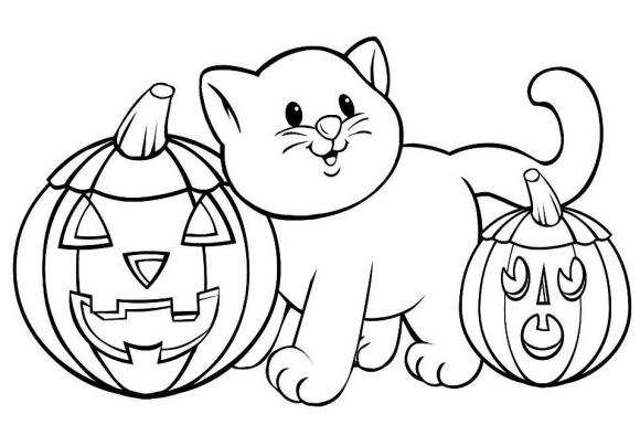 dessin à imprimer: Dessin Chat Halloween A Imprimer