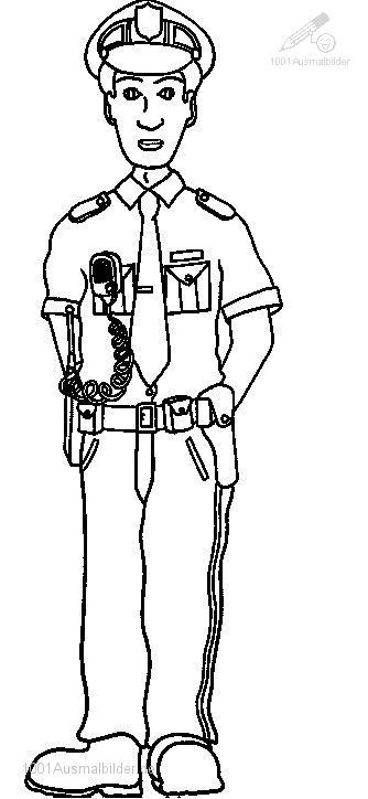 Ausmalbild Polizei Polizist