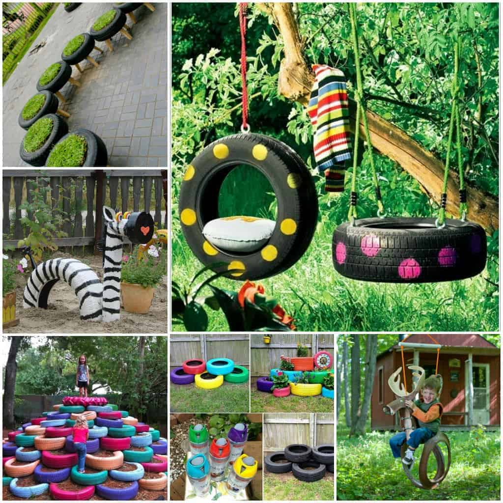inflatable lawn chair good posture reading 10 diy tire decoration ideas for your garden • 1001 gardens