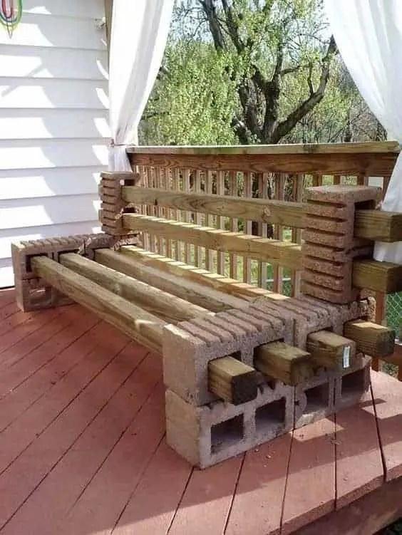 diy balcony outdoor bench ad cinder block project
