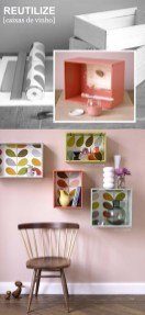 Crie prateleiras com caixas de madeira