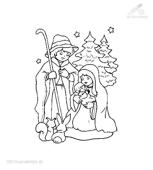 Malvorlage Jesus und Maria