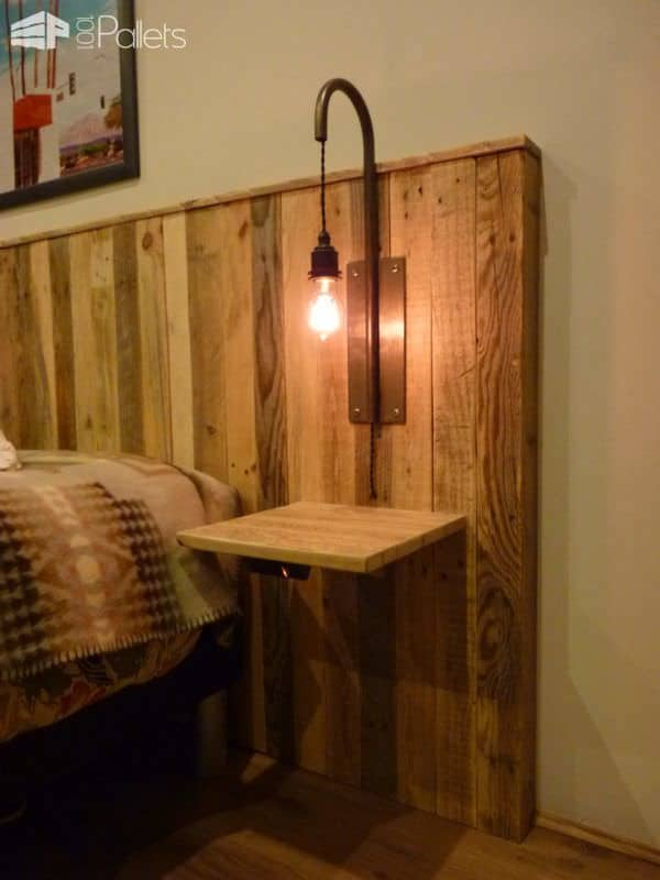 Pallet Bed Headboard With Lights  Tte De Lit En Palettes