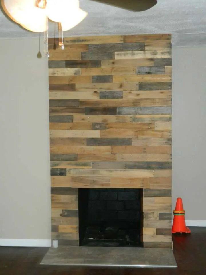 Pallet Wood Fireplace Wall  1001 Pallets