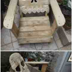 Wooden Skull Chair Crate And Barrel Outdoor Dining Chairs Fauteuil Tête De Mort Pallet  1001 Pallets