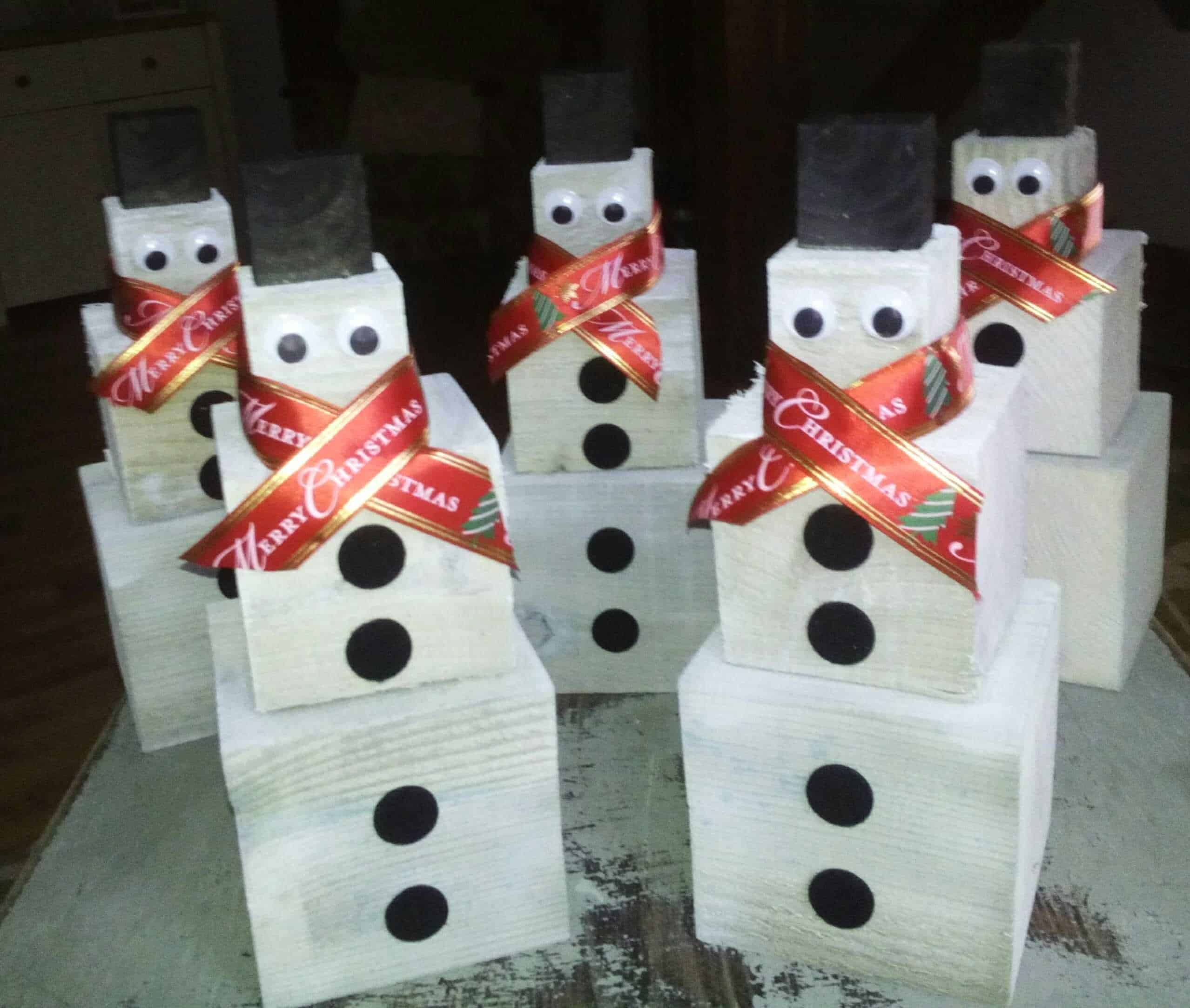 Snowmen For Christmas Handmade From Timber Off Cuts