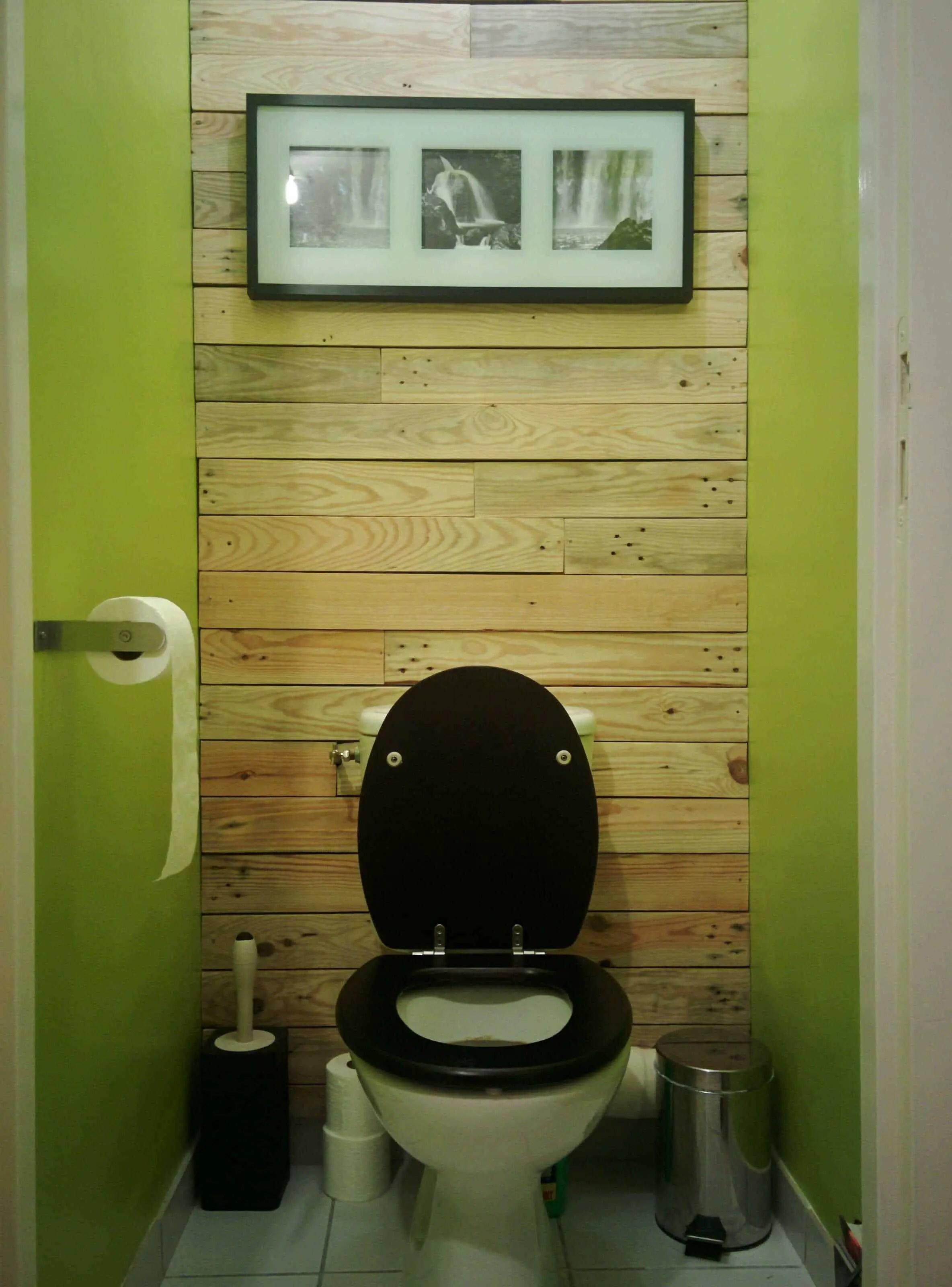 Dcoration De Mur En Bois De Palettes  Toilet Pallet Wall