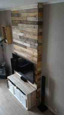 Mur En Bois De Palettes Entertainment Center Wall 1001