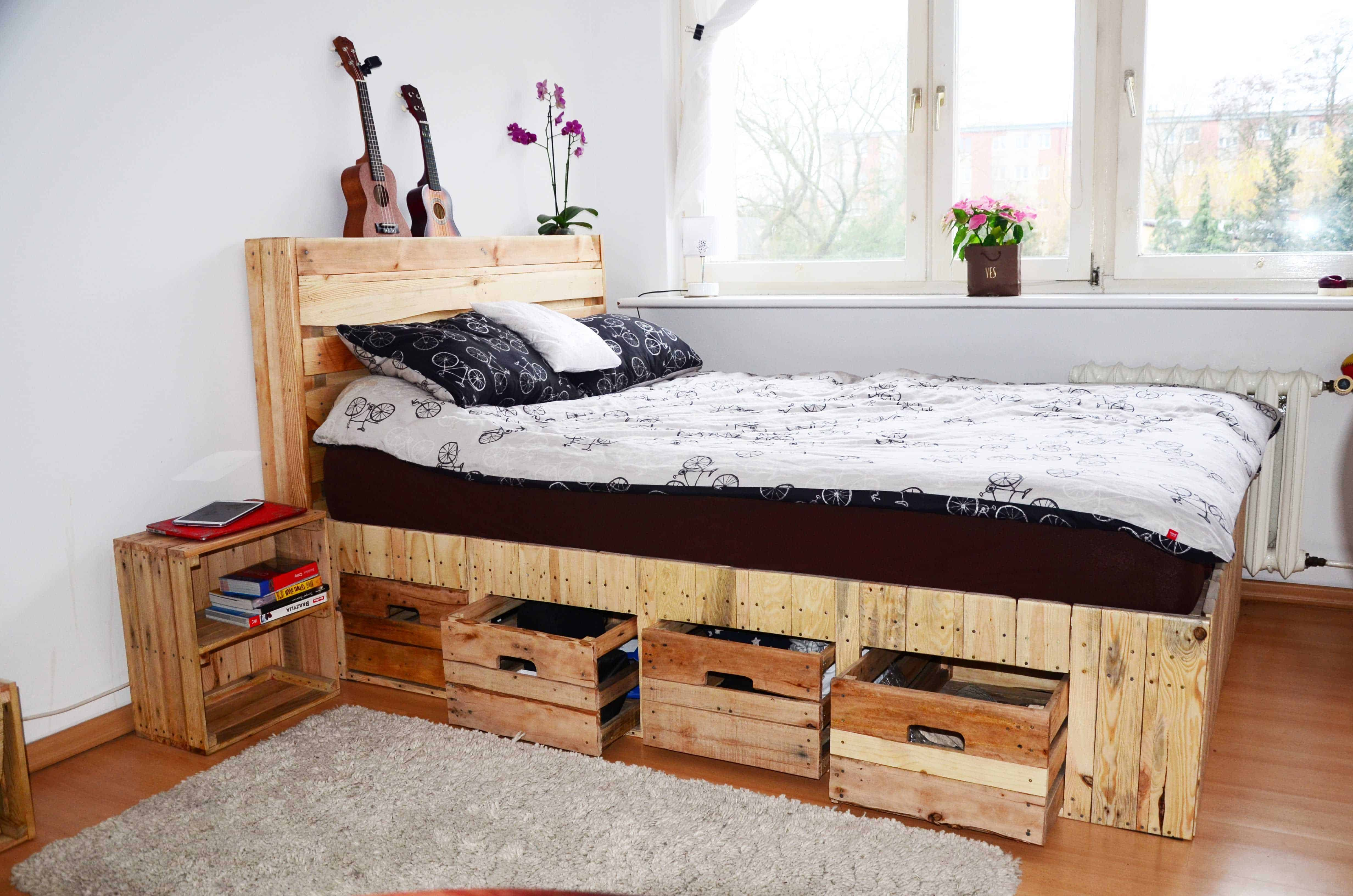Pallet Wood King Size Bed With Drawers Amp Storage