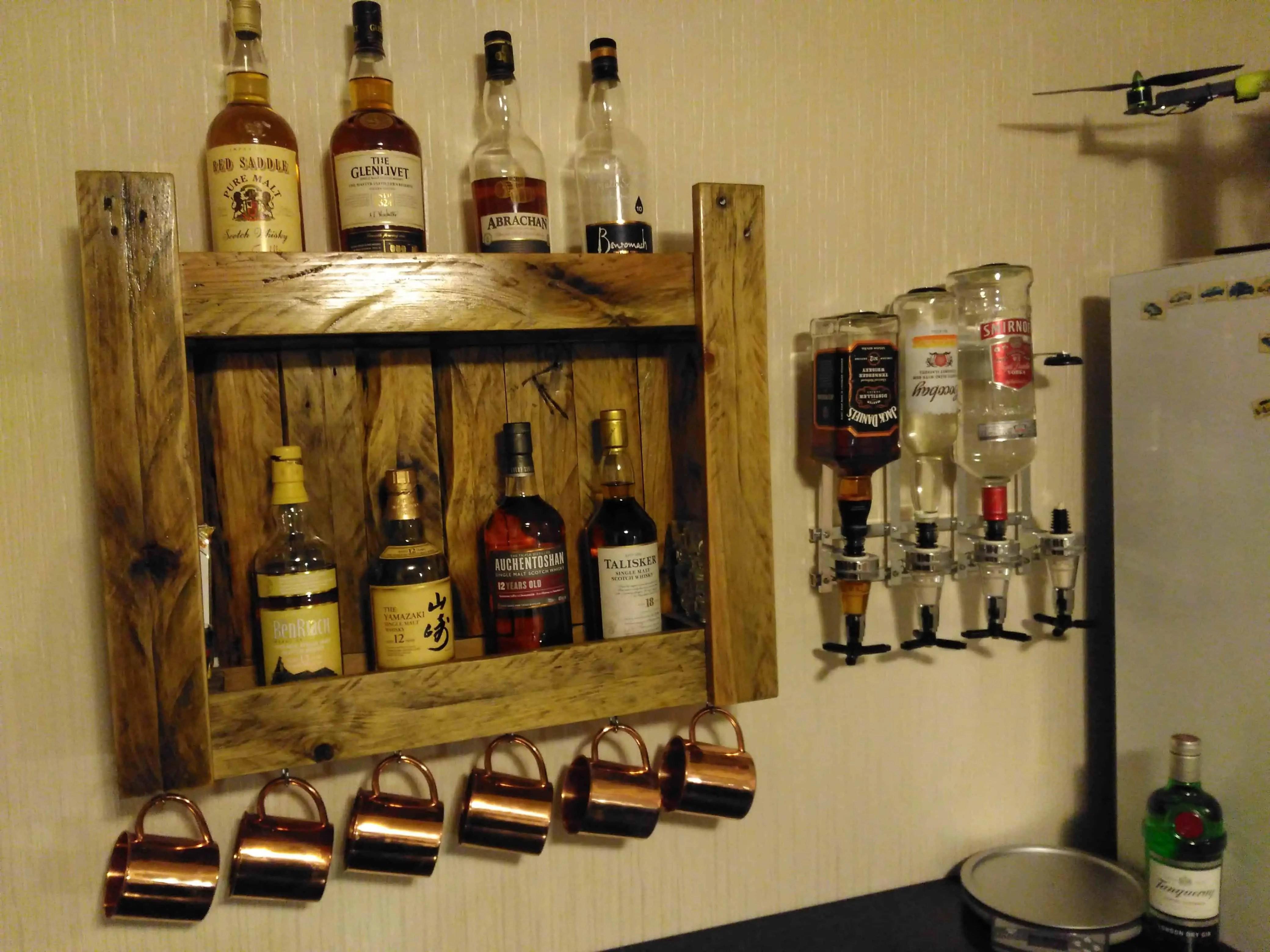 Pallet Whiskeys Shelf for Home Bar  1001 Pallets