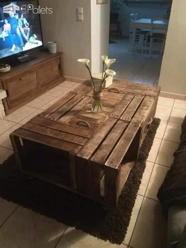 Tables En Caisses Pommes Apple Crates Into Coffee