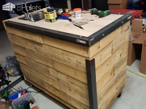 kitchen cart on wheels full cabinets pallet-clad espresso • 1001 pallets