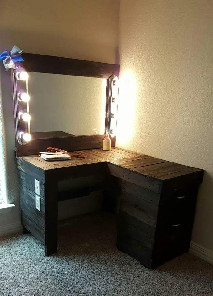 Powered Pallet Vanity Corner Desk Unit  Pallet Ideas