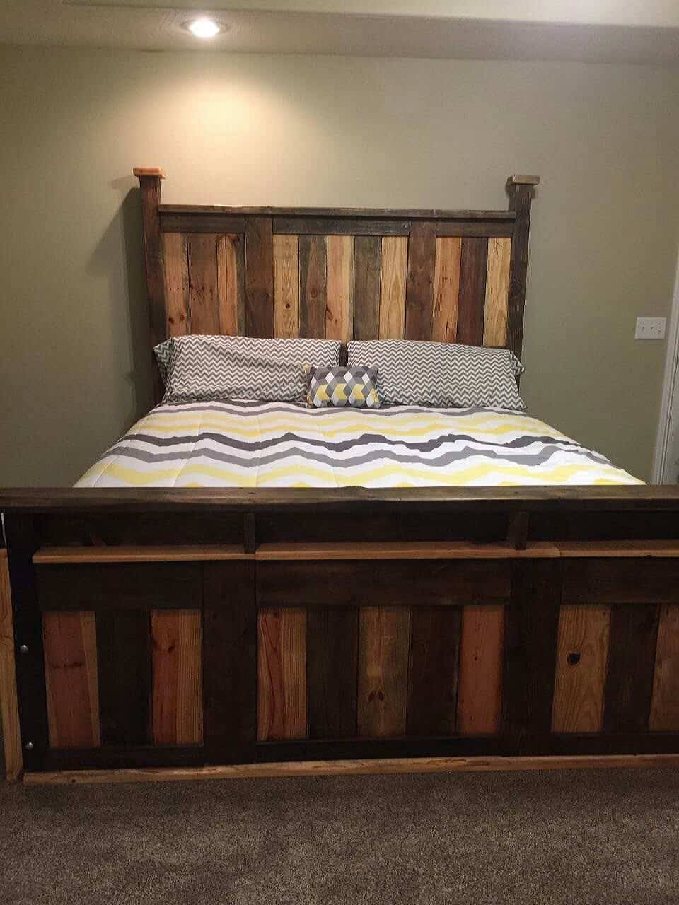 Twotoned Pallet King Size Bed Frame  1001 Pallets