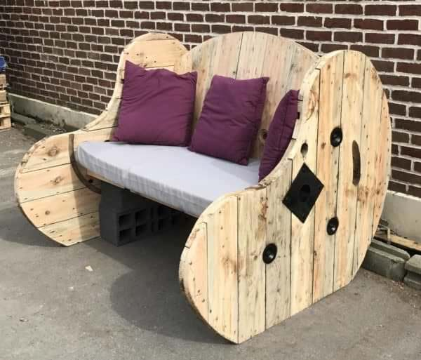 Upcycled Cable Spool Garden Bench Salon De Jardin Pallet Benches Pallet Chairs Stools
