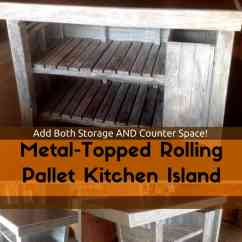 Rolling Kitchen Chairs Accessories Metal-topped Pallet Island • 1001 Pallets