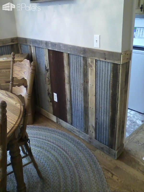 Pallets Plus Tin Makes Stunning Wainscoting  1001 Pallets
