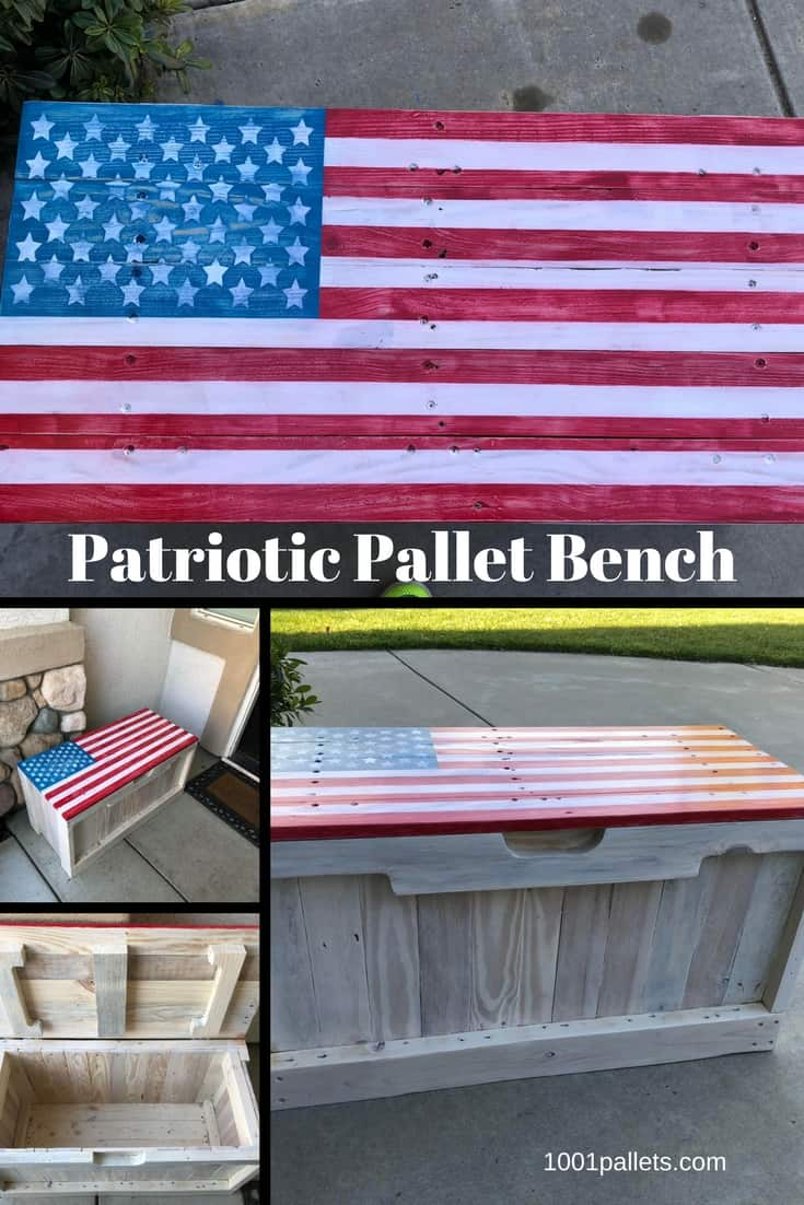 ideas for craft room chairs office chair galway patriotic pallet bench features hidden storage • 1001 pallets