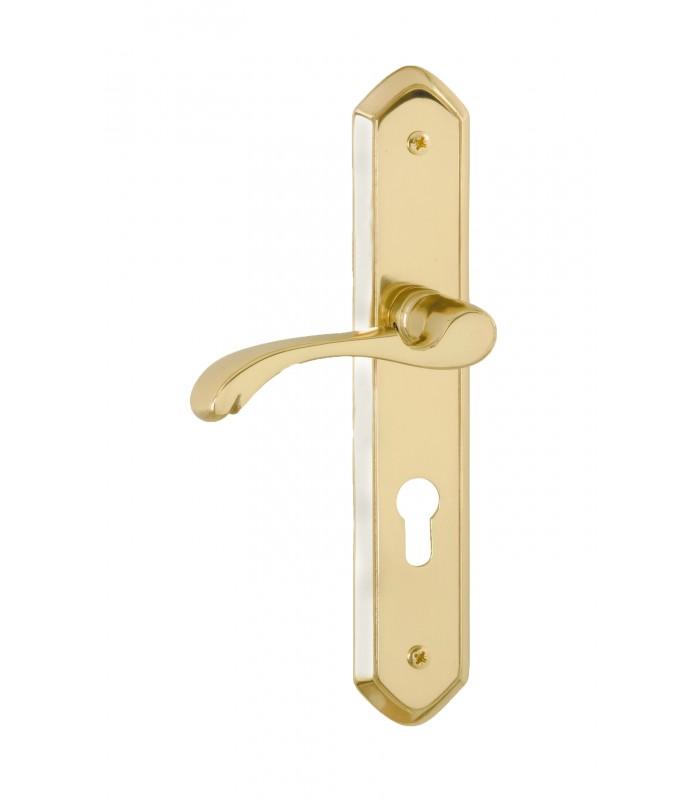 1 2 poignee de porte d entree classique a gauche laiton poli 1001poignees votre specialiste de la poignee de porte