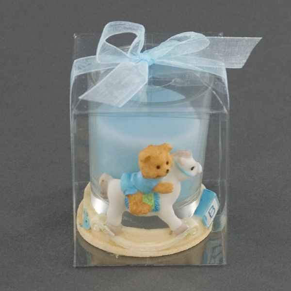 Blue Ceramic Teddy Bear Holder On Rocking Horse Baby Shower Favor