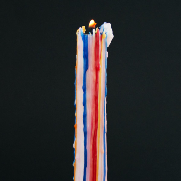 Multi Color Drip Taper Candles  2 Pieces