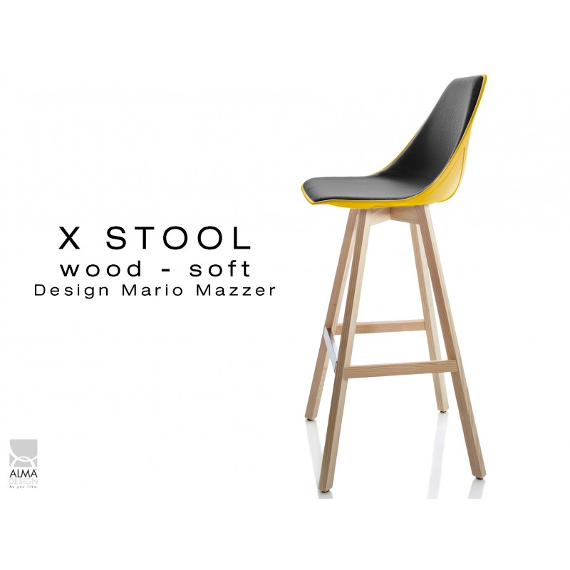 Tabouret De Bar Design X STOOL Wood Soft 75 Pied Bois