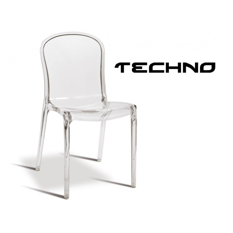 chaise transparente techno structure polycarbonate teinte
