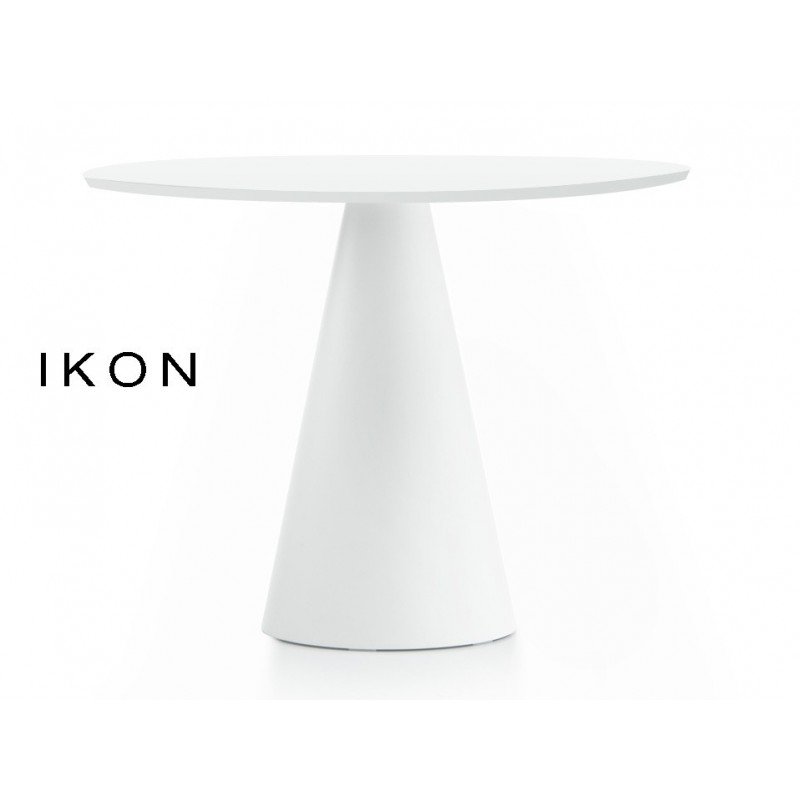 lot de 3 tables design ronde ikon pied conique pvc plateau compact