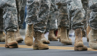 Army boots marching.
