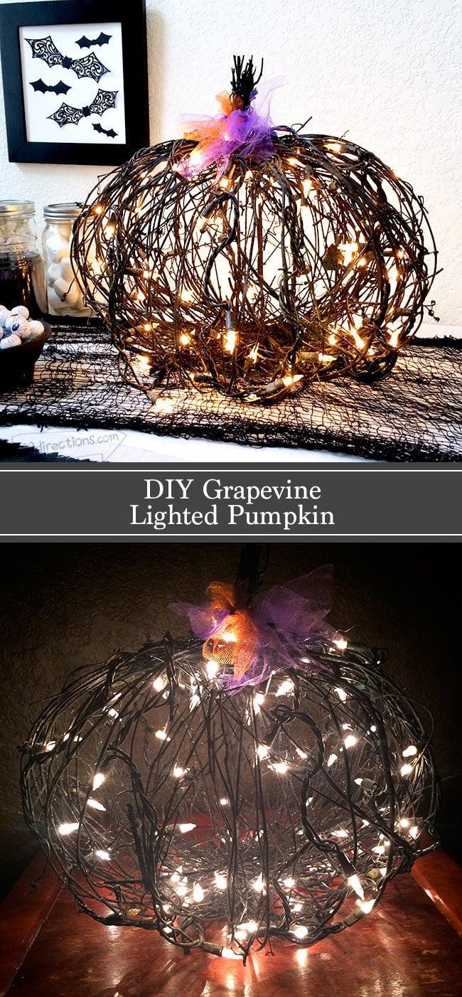 Black grape vine pumpkin with lights tutorial - 100 Directions