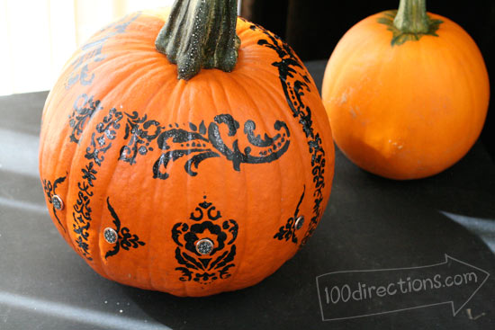 Decorative stenciled Halloween pumpkin by Jen Goode