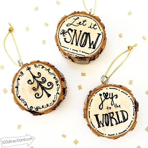 Pen and Ink Wood Slice Ornaments by Jen Goode