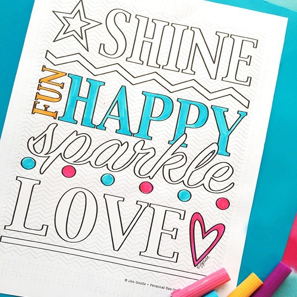 Shine Happy Word Art Coloring Page - 100 Directions