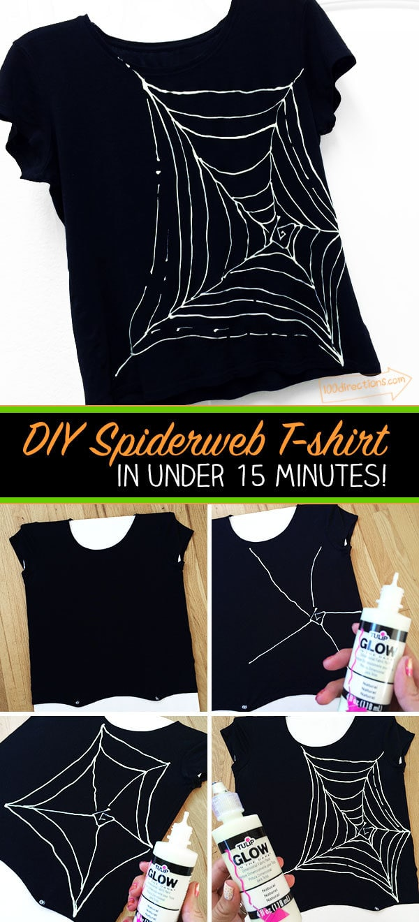 Black t shirt diy - Diy Spiderweb T Shirt