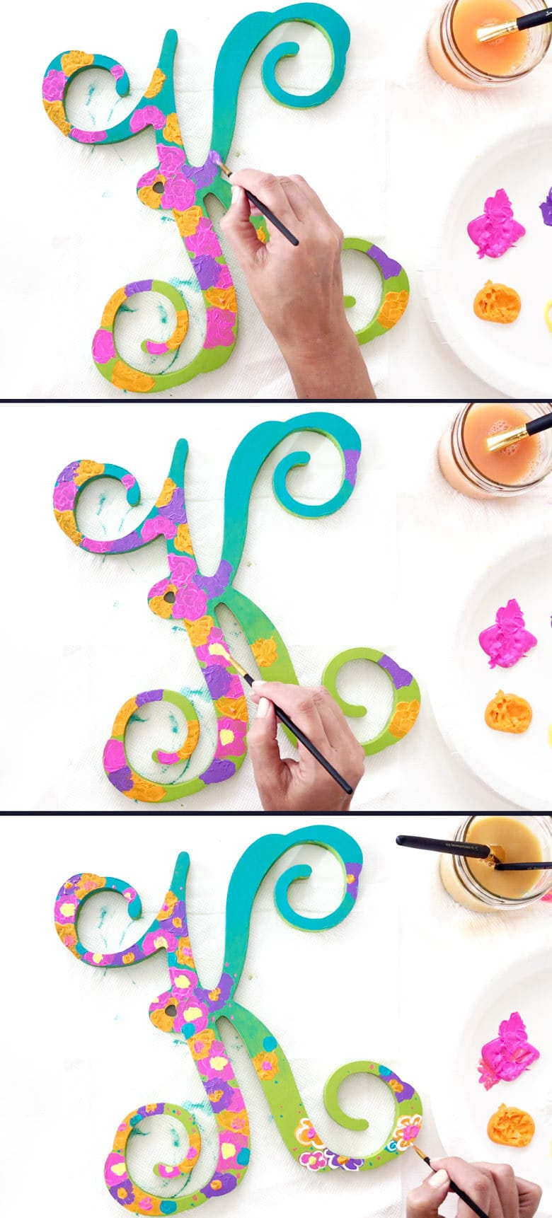 Painted wooden shapes for crafts - Paint Different Color Shapes To Create Flowers
