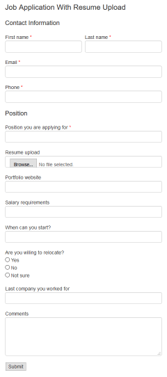 HTML code for Job Application With Resume Upload form