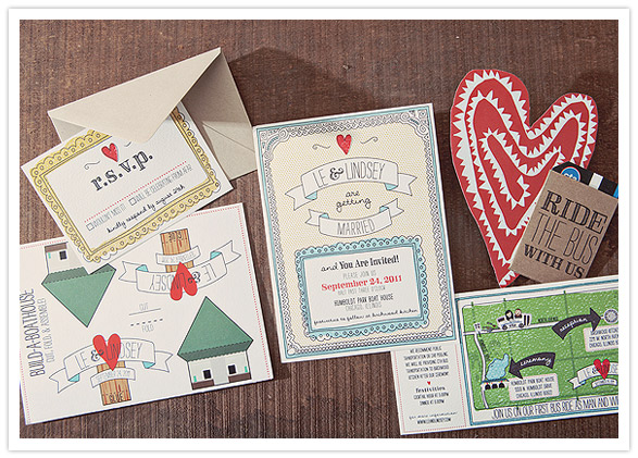 Letterpress Printed Wedding Invitation With Chicago Skyline