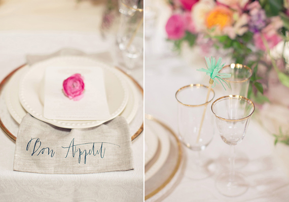 Calligraphed dinner napkins | photo by This Love of Yours | 100 Layer Cake
